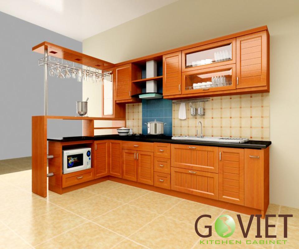 Tủ bếp gỗ chữ L đẹp hiện đại