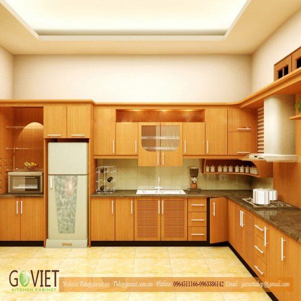 Tủ bếp Veneer chữ L