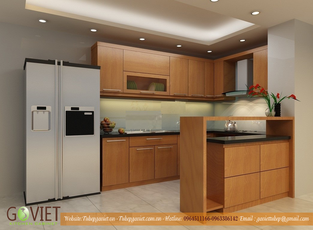 tủ bếp veneer hiện đại