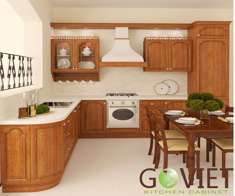 Tủ bếp gỗ tự nhiên sồi T8