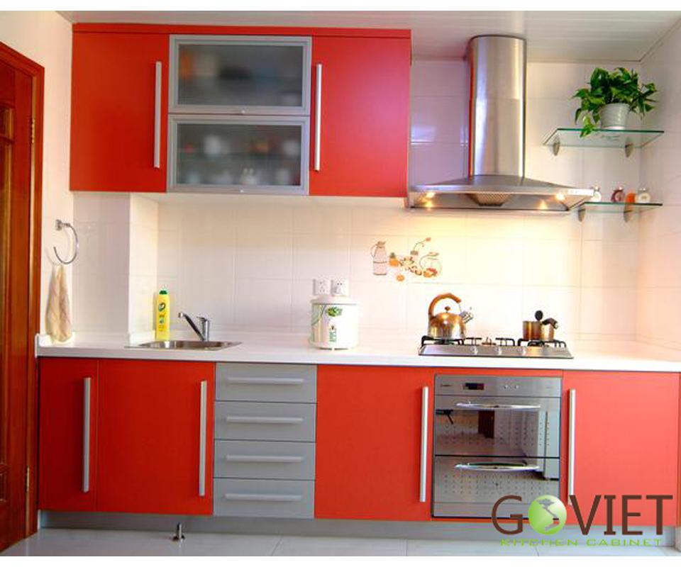 Tủ bếp gỗ chữ I ấn tượng TBGV-1109