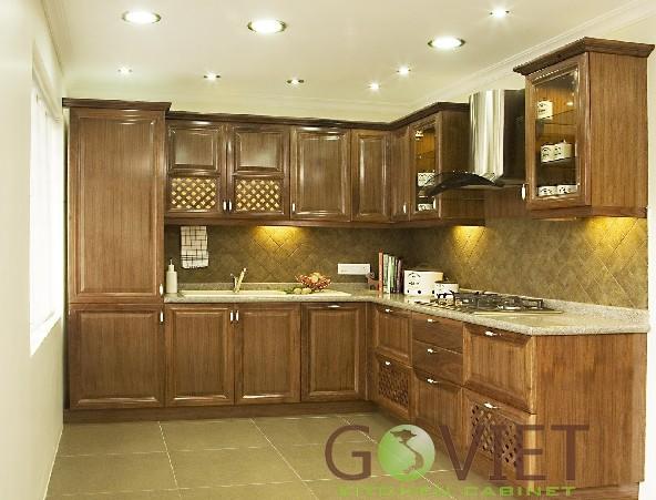 Tủ bếp gỗ tự nhiên cao cấp chữ L