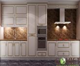 Tủ bếp gỗ tự nhiên sơn trắng - T27