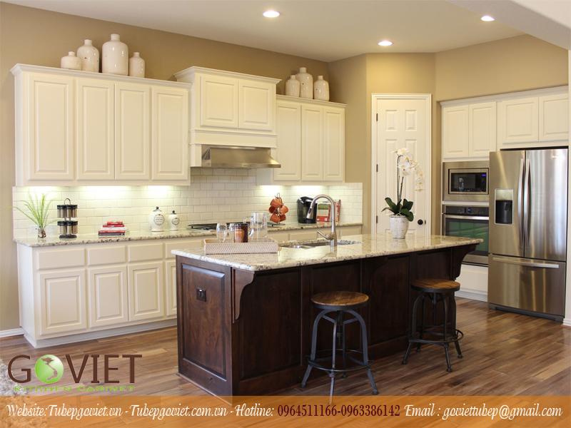 Tủ bếp gỗ tự nhiên màu trắng
